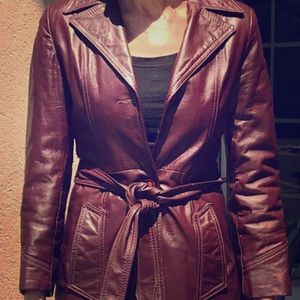 Jackets & Blazers - Vintage Burgundy Leather Trench Belted Coat
